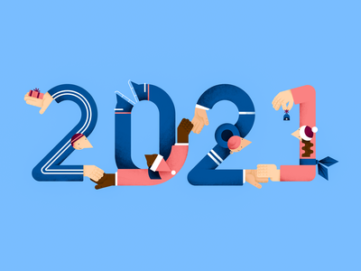 2021 gift 2021 characterdesign color design digital flat hands illustration number new year people textures vector together winter year