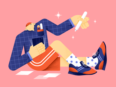 Let's draw! pocket textures stripes shoes artist vector stars pattern illustration hands flat digital design color characterdesign