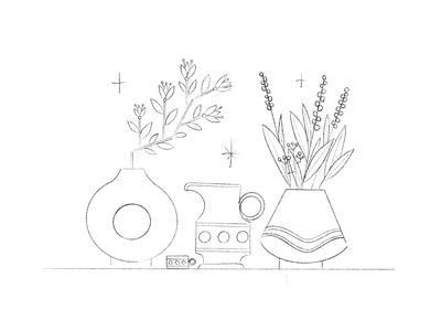 Pottery and flowers blossom vase watering can water vector stars pottery plants pattern illustration greens flowers flat digital design color