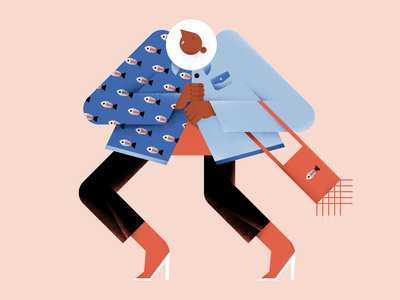 Fashion and style heels bag fishes style fashion pattern vector people illustration hands flat digital design color characterdesign
