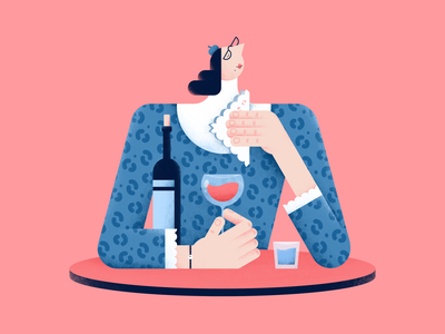 A glass of wine glasses napkin glass wine characterdesign color design digital flat hands illustration people vector pattern fashion style