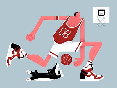 Basketball sneakers sports basketball people vector illustration friends flat dog digital design color characterdesign ball animal pet