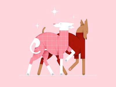 Couple fashion clothes valentines day stars pattern illustration digital design color vector flat dog couple pet animal