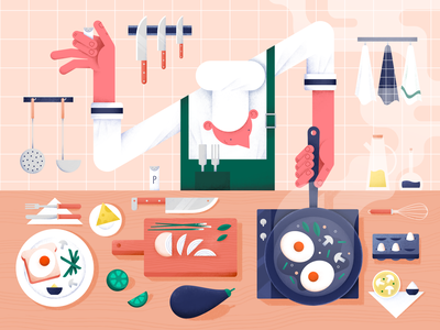 Cooking time! tasty pattern characterdesign color design digital flat hands illustration vector people food meal kitchen dinner cooking