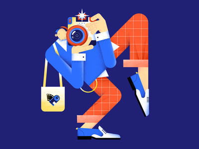 Say cheese! flash camera photographer polaroid characterdesign color design digital flat hands illustration pattern people vector boots
