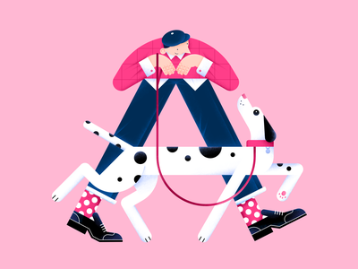 "Let's walk like the letter ""A"" boots pattern people vector illustration friends flat dog digital design color characterdesign pet animal letter 36daysoftype"