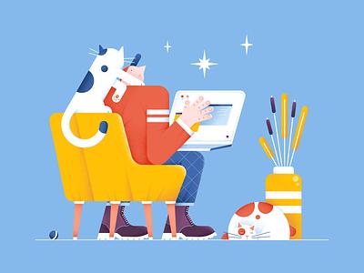 Let me help you color chair boots characterdesign people design pet laptop cats pattern vase flowers digital flat stars vector illustration