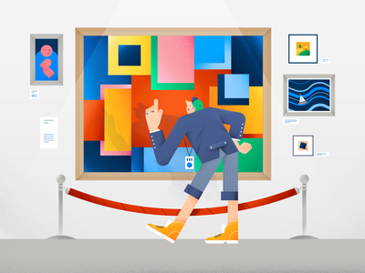Art Gallery shadow museum composition abstract art frame pattern gallery characterdesign people vector design flat digital illustration color