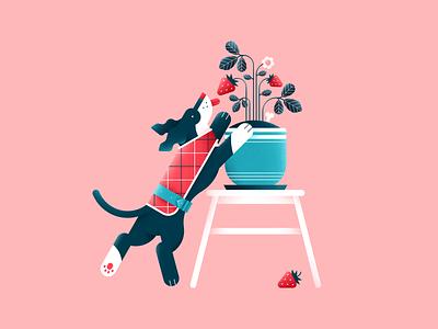 Strawberry tasty flower plant pet animal clothes pattern strawberry dog vector design flat color digital illustration