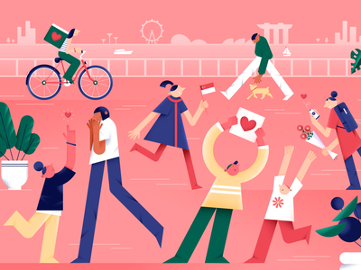 Kind Citizen ship delivery phone bicycle city flowers hands pets plants characterdesign love singapore design vector digital people flat color illustration