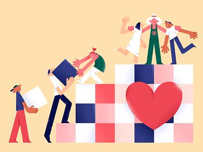 All together singapore characterdesign help hands happy love heart kind vector design people flat color illustration digital