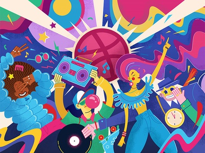 Disco Dribbble illustrator art clock music people disco party color flat design vector illustration