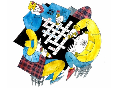 Crossword friends puzzle raster illustration art illustration caracter stool cell words pencil cmyk color ink drawing ink handdrawn people crossword watercolor art watercolor game