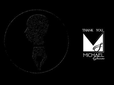Thank you Michael Sacca debut identity typography design white black simple minimalist logo