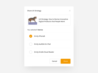 Share modal form product pop up select device share list modal