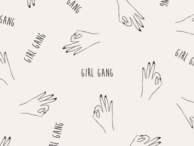 Girl gang pattern nails hand drawn gang girls