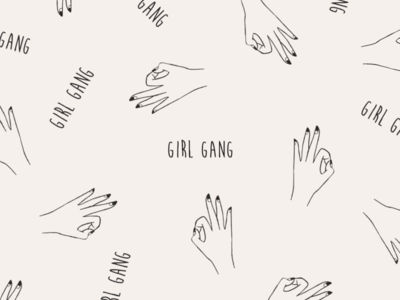 Girl gang pattern nails hand drawn gang girls