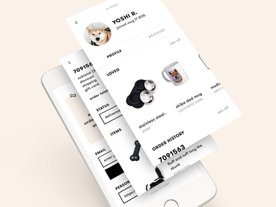 yoshi app shiba shibe mobile account profile products order receipt ux