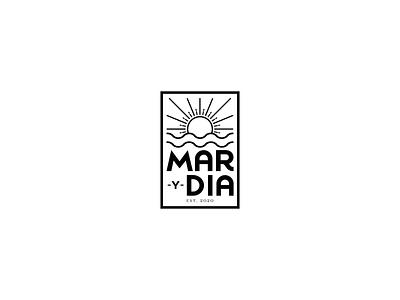 'Mar y Dia' logo oceano mar sol sea ocean sun type clean brand illustrator adobe illustrator icon minimal flat illustration design branding vector logo