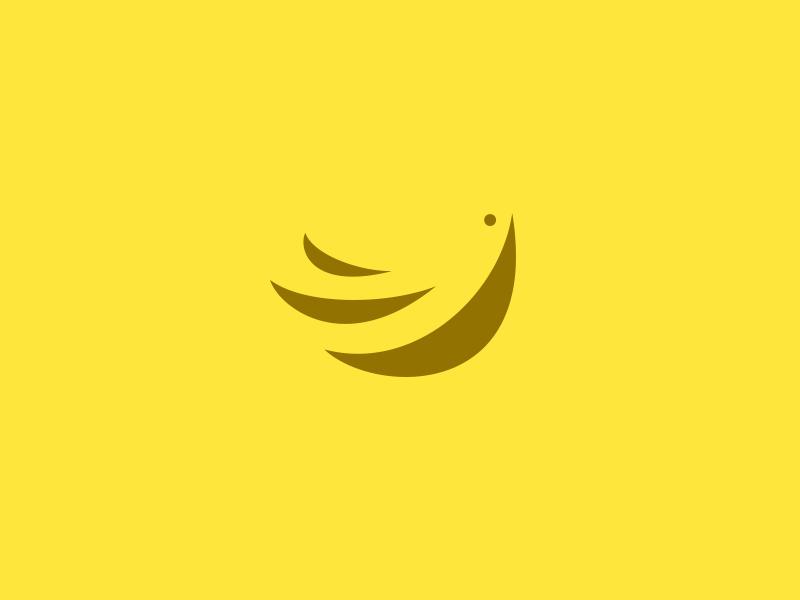 Banana Bird bird banana logo negative minimalism shadows wings fruit yellow deiv