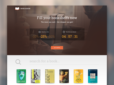 Landing page for a book auction