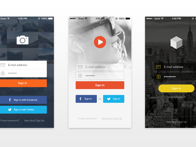 [PSD] 7 App Sign In Screens apps login sign in buttons ui free psd download deiv ios7
