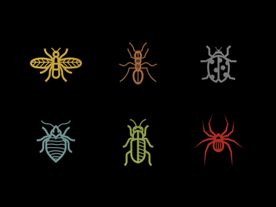 Bugs bugs bug spider ladybird ant bee deiv icons outlines curves colors