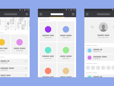 Wiriiiiiing wireframes flat android l deiv material design ui ux discover feed tournaments profile