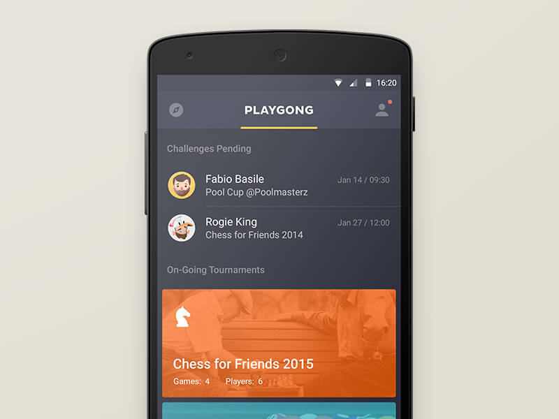 Playgong App playgong android l app feed games chess pool deiv social cards material design
