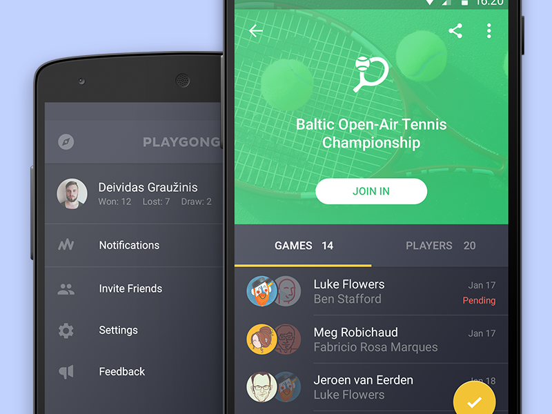 Playgong playgong android l app feed games chess pool deiv social material design