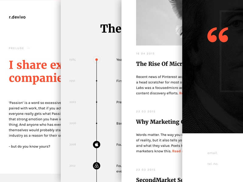 r devivo website deiv footer quote blog ads marketing web responsive desktop timeline