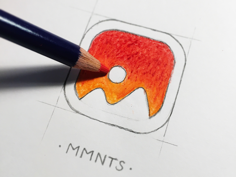 MMNTS App Icon sketch pictures mountains gallery photos iphone ipad deiv app icon icon app moments