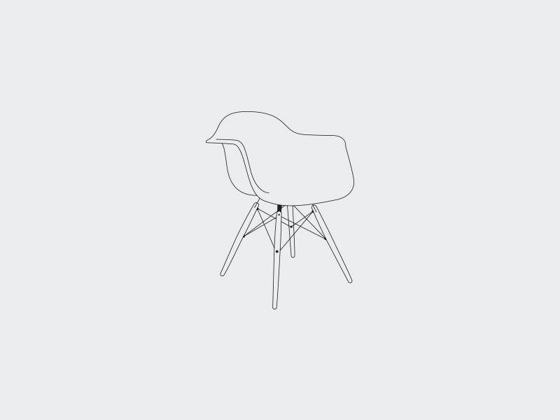 No 1 deiv plastic icon illustration hairline outline interior furniture armchair eames chair