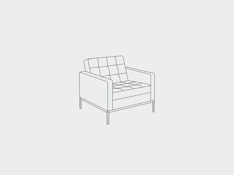 No 2 deiv lounge icon illustration hairline outline interior furniture armchair florence chair