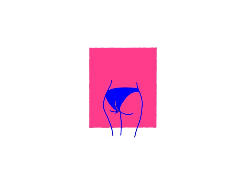 datass frame portrait icon outline doodle illustration girl booty ass