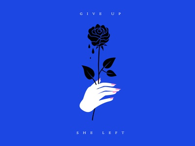 Give Up. She Left. nails black blue flower romance romantic nostalgic rose hand