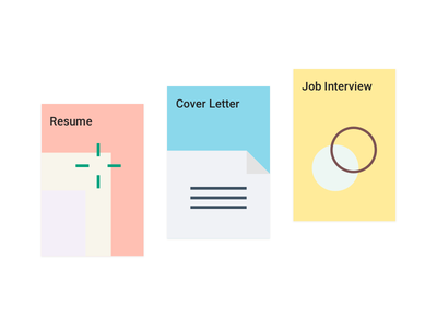 Guidebook wozber pastel colors paper letter cover job interview resume guidebook