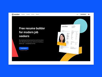 Wozber home template cv template design builder resume cv startup web design landing page wozber