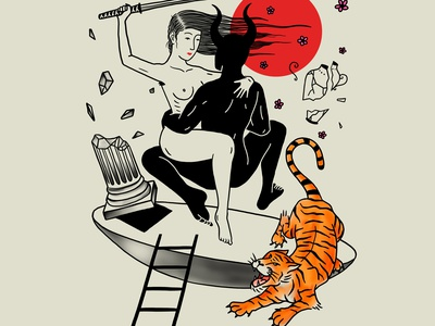Backpiece reference samurai woman devil illustration procreate tiger japanese art backpiece tattoo