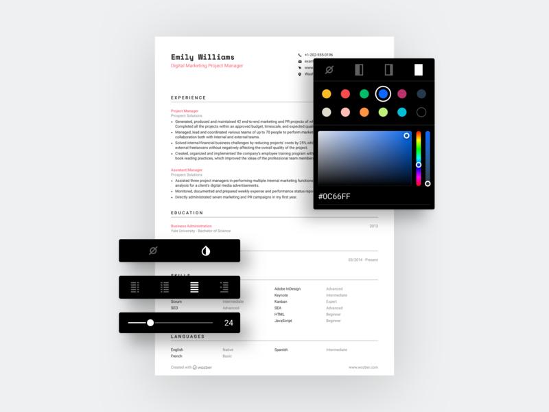 Wozber Resume Customization color picker ui customization resume design resume template cv design resume wozber