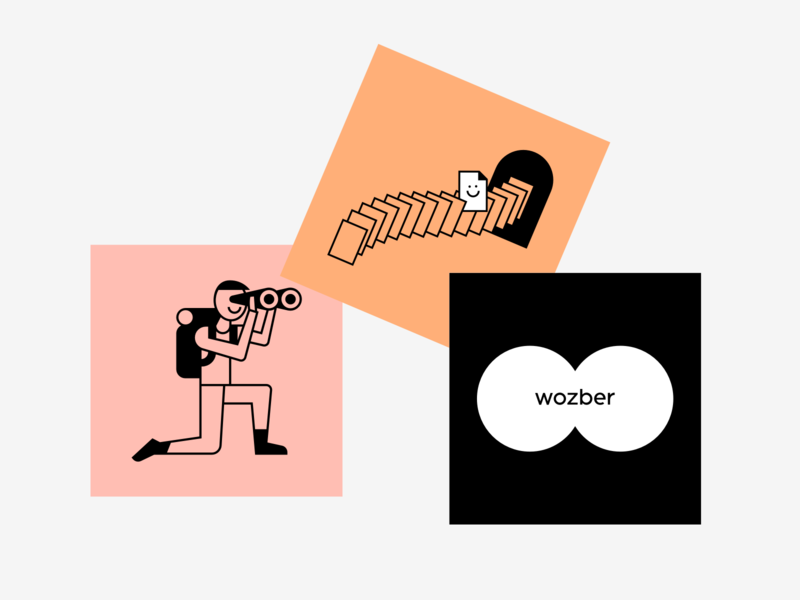 looking for a job orange black outlined illustrations wozber resume cv job application