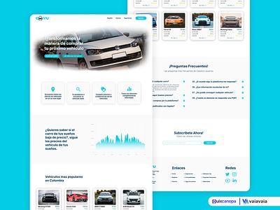 Landing Page Exploration - Carru Startup uxui uxdesign web ux design ui
