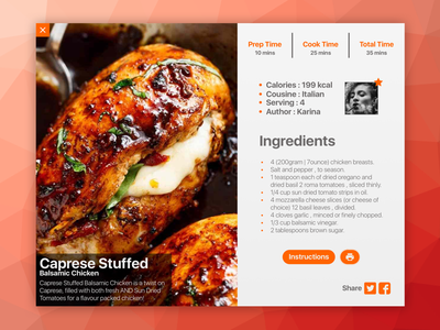 Caprese Stuffed Chicken - PopPup Recipe italian food sketch exploration inspiration webdesign web recipe designer design ui ux