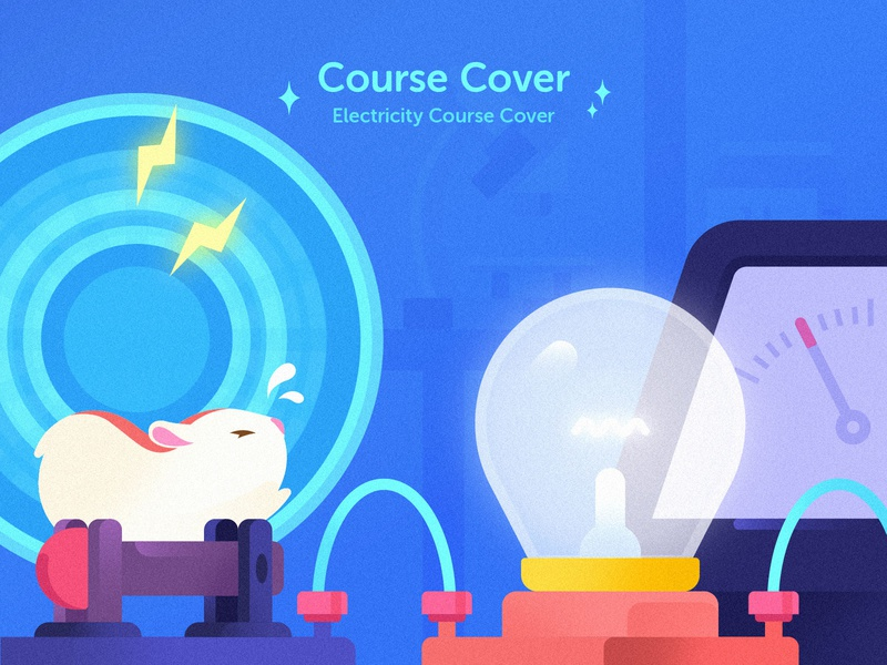 Electricitycoursecover education app hamster bulb experiment electricity physics illustration