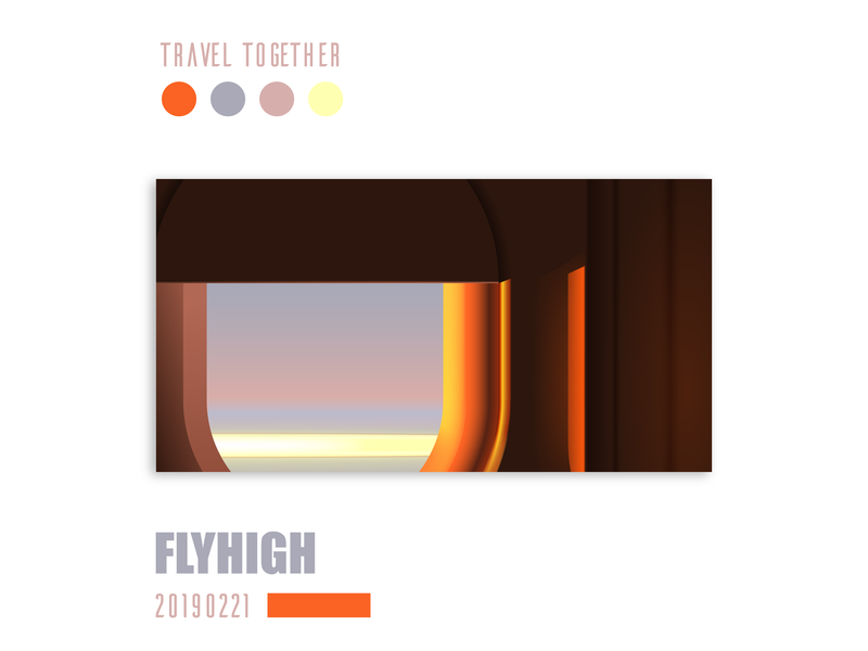 Let's travel together! Fly high and look out! pinkblue orange art design window plane cloud sunshine sky fun illustraion travel colour