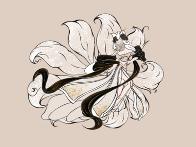 Fox with nine tails: A beautiful Chinese fairy