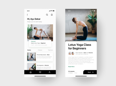 Yoga Apps UI Design apps web graphic typography kit system branding meditation yoga product design app minimalist mobile experience interface user template download free