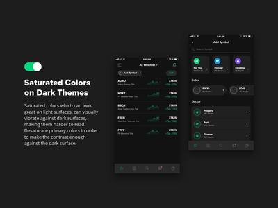 Mobile Exploration - Dark Mode Stock Trading Platforms