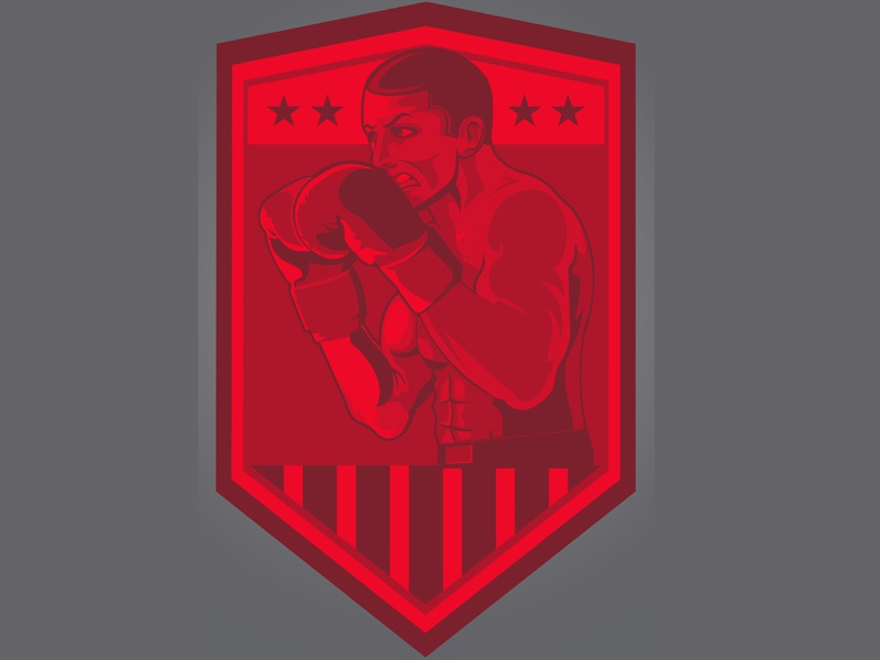 Boxer Illustration vector mma champ stars and stripes shield fighter rocky mike tyson illustration boxing boxer