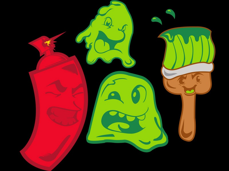 Cartoon Paint Family icons cartoon faces paint brush painting spray can mascot cartoon